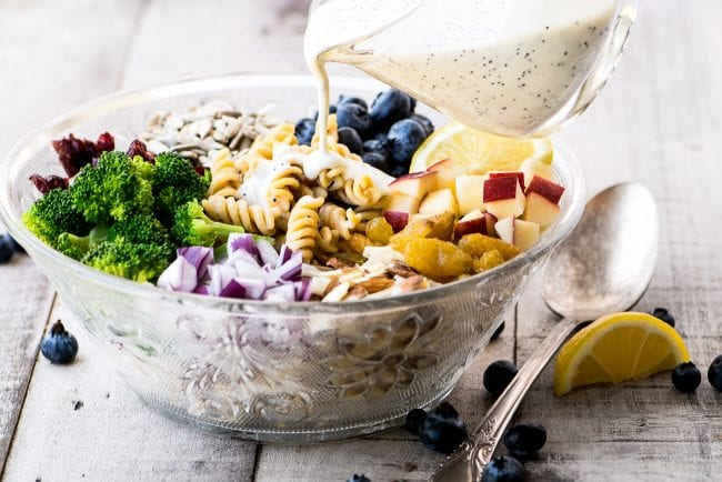 Broccoli and Blueberry Pasta Salad with Lemon Buttermilk Dressing - Chickapea Pasta