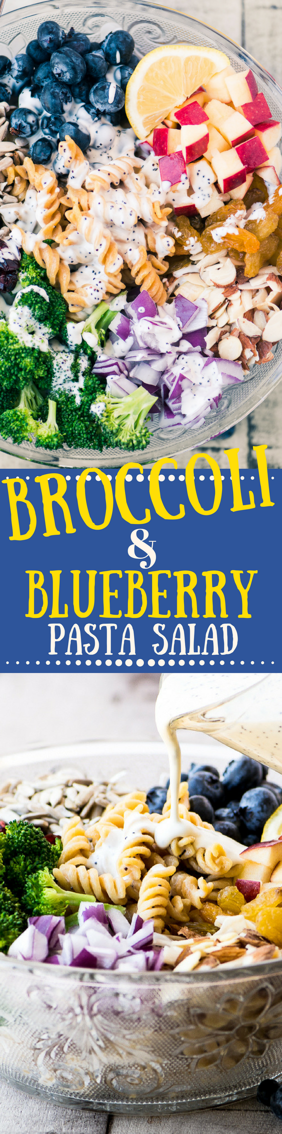 Broccoli and Blueberry Pasta Salad with Lemon Buttermilk Dressing ~ this healthy and colorful salad is made with delicious Chickapea gluten free pasta ~ |salad | gluten free | picnic | Memorial Day | 4th of July |