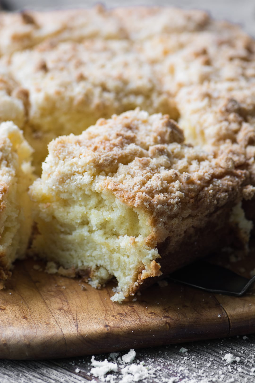 Lemon Sugar Crumb Cake is a mile high crumb cake with a delicate fresh lemon flavor, it's made with my special lemon infused sugar ~ an easy technique for punching up the citrus flavor in your favorite recipes!