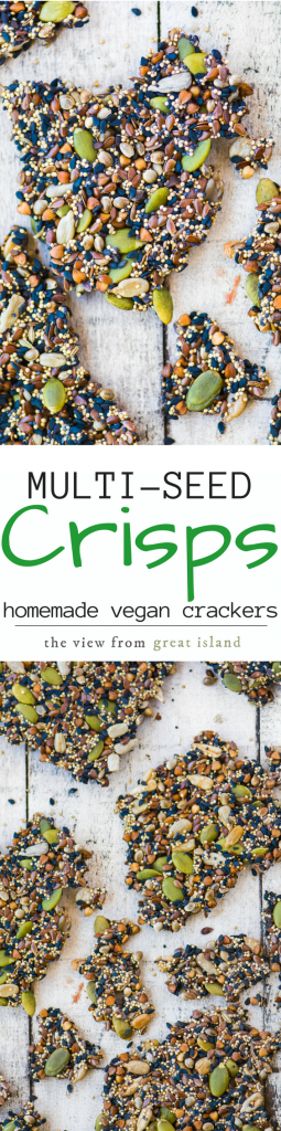 Vegan Multi Seed Crisps couldn't be easier to make ~ you only need seeds and water! |healthy | appetizers | cheese and crackers | homemade crackers