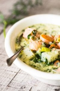 salmon soup with spoon