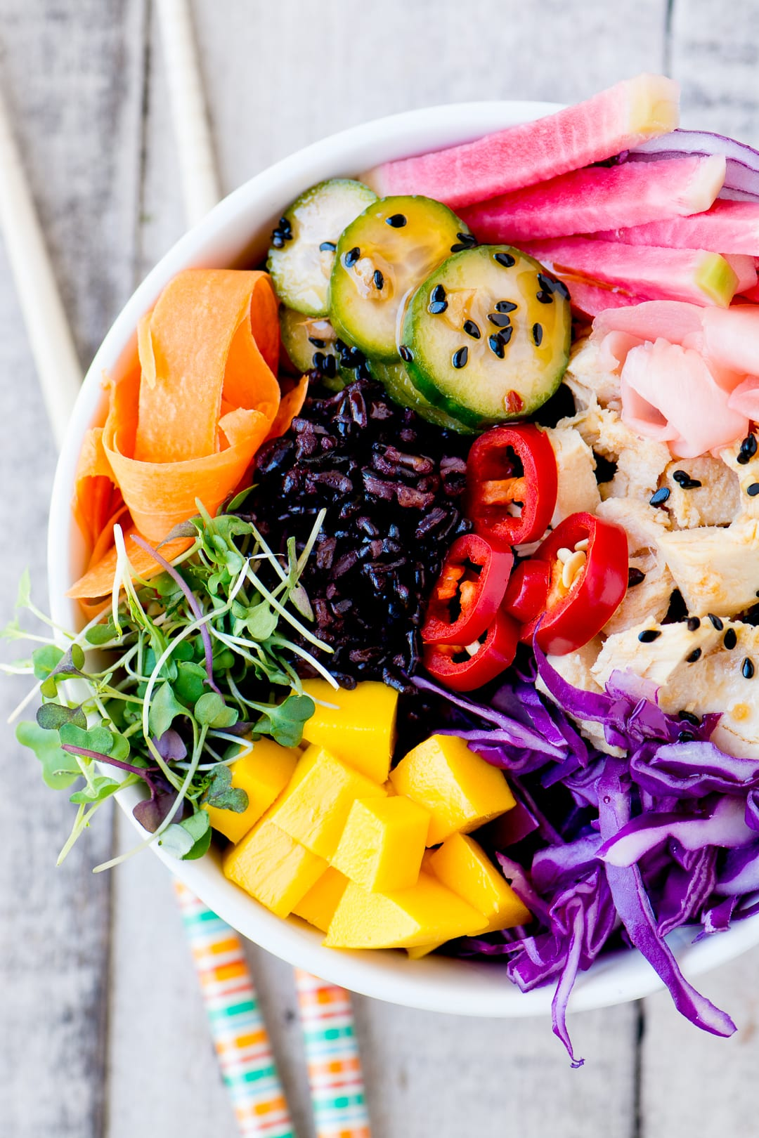 Rainbow poke bowl with tuna