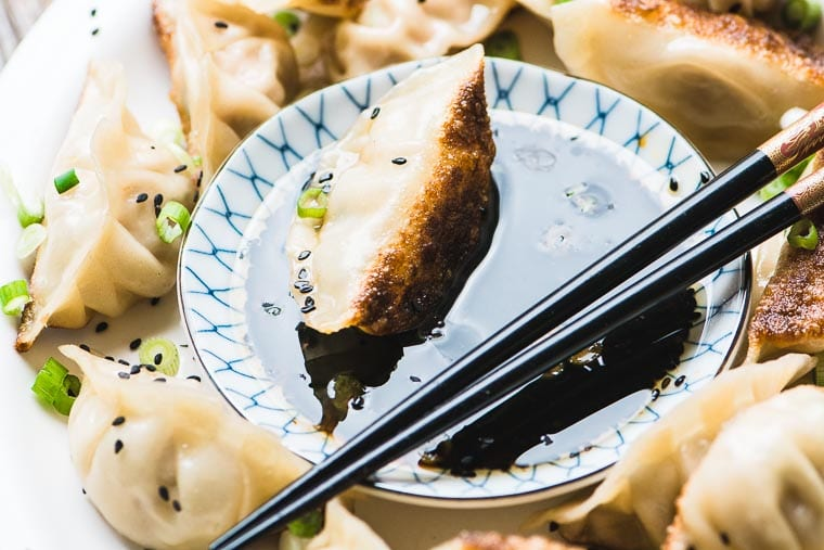 Japanese Pork Dumplings with Ginger and Green Onions ~ these tender potstickers are packed with flavor and make an ideal appetizer or light dinner.