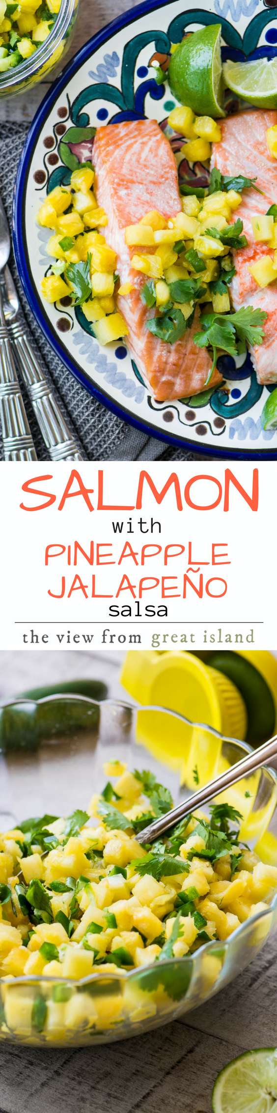 Salmon with Pineapple Jalapeno Salsa ~ this is a healthy light meal for a warm night, and the spicy fruit salsa can double as an appetizer ~ just add chips and an ice cold beer or margarita! #30minutemeal #healthy #salmon #fish #salsa #pineapple #mexican #jalapeno #dinner #easydinner