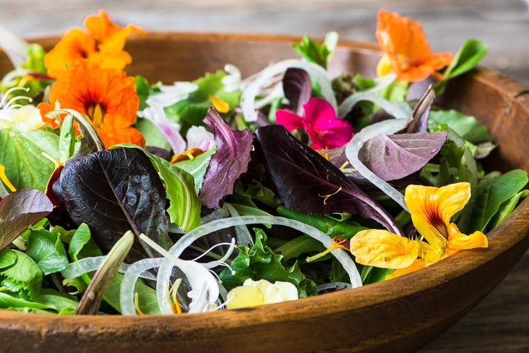 Spring Salad with Edible Flowers ~ learn how to source and use edible flowers to take your salad from so-so to spectacular!