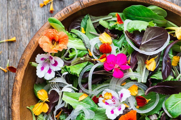 Spring Salad with Edible Flowers ~ this simple salad is spring in a bowl!