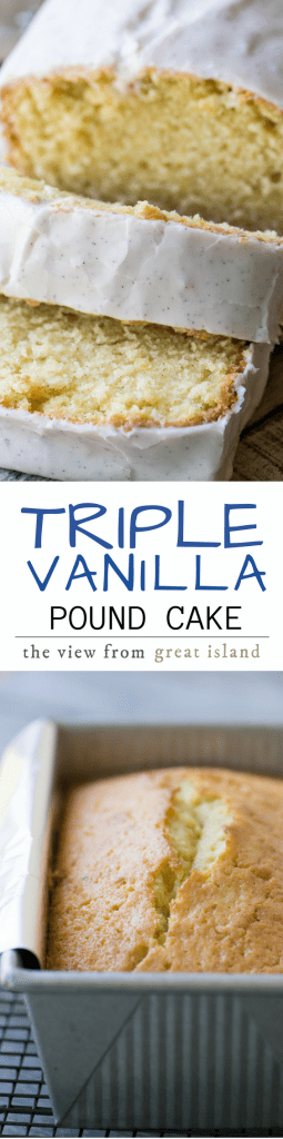 Triple Vanilla Pound Cake ~ not one, not two, but three layers of intense vanilla flavor to satisfy even the most serious vanilla fans. |coffee cake | breakfast | dessert | brunch |