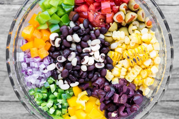 Ingredients for Cowboy Caviar in a bowl