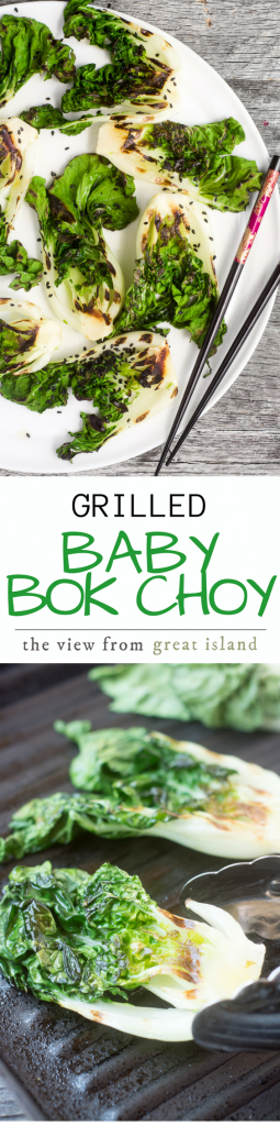 Grilled Baby Bok Choy is a one minute wonder --- a quick stint on a searing hot grill turns an under-appreciated and sometimes slightly bitter veggie into a rock star --- the honey glaze doesn't hurt either! |side dish | vegan | low carb | Paleo | Whole 30 | healthy | grilling