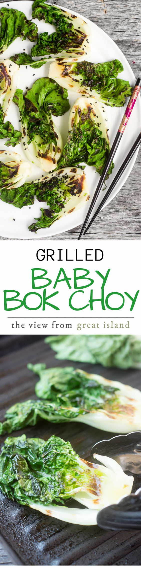 Grilled Baby Bok Choy is a one minute wonder --- a quick stint on a searing hot grill turns an under-appreciated veggie into a rock star --- a little bit of honey sesame glaze doesn't hurt either! #sidedish #healthy #grilledvegetables #greens #Asiangreens #grilledlettuce