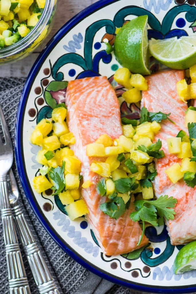 Salmon with Pineapple Jalapeno Salsa ~ this is a simple meal for a warm night, and the salsa can double as an appetizer ~ just add some great chips and an ice cold beer or margarita!