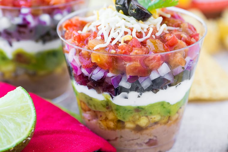 7 Layer Dip Appetizer Cups