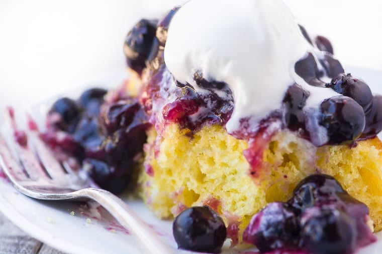 Blueberry Lemon Shortcake ~ this yummy variation on the summertime classic will win you over with its juicy blueberries tumbling over a moist lemony cake ~ plus I'll show you how to shake up the best whipped cream right in a mason jar!