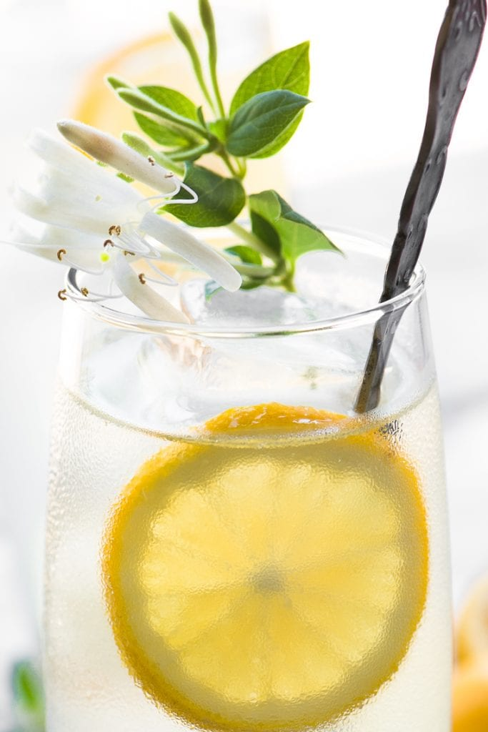A glass of Honeysuckle Vodka Lemonade