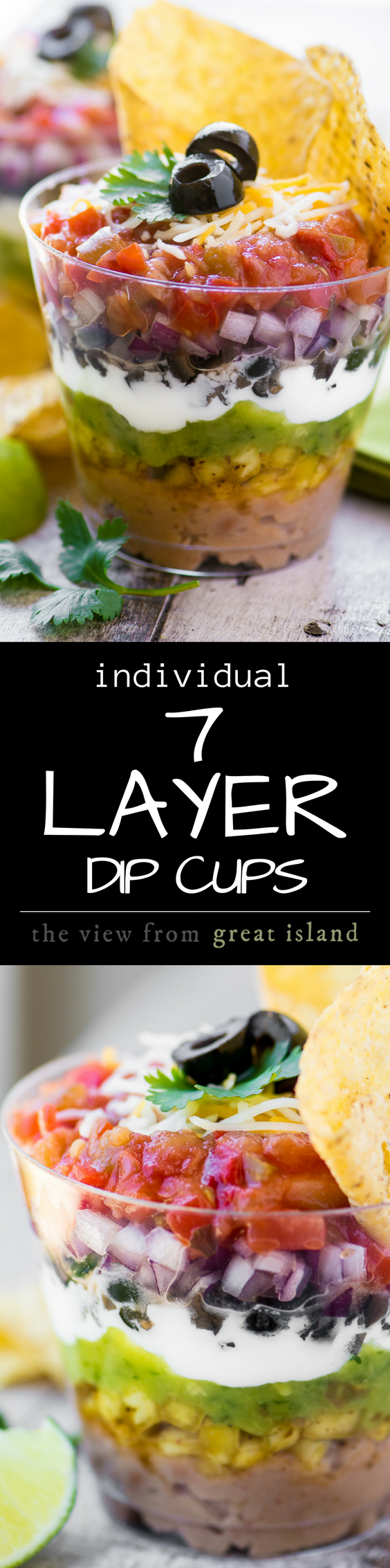 7 Layer Dip Cups ~ portable little appetizer stations layered up just like everybody's favorite Tex-Mex bean dip ~ so you can mingle and chow down at the same time ~ genius! | appetizers | 7 layer dips | dips | summer | rainbow |