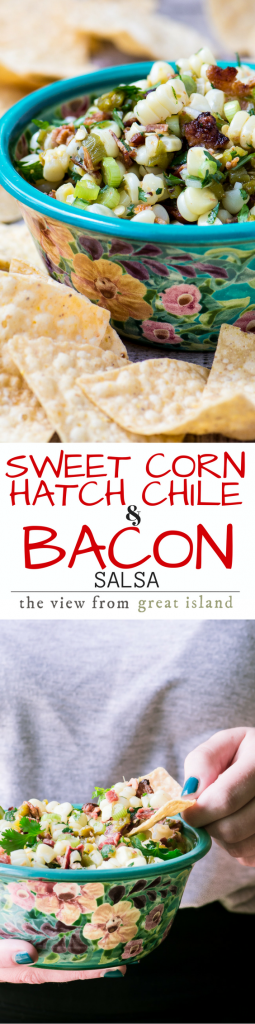 Sweet Corn, Hatch Chile, and Bacon Salsa ~ say that without drooling, I dare you! I'm crowning this the salsa of the year, it's stolen my heart and I know it'll steal yours. This salsa is guaranteed to be the HIT of any summer party. | appetizer | corn | Hatch Chiles | Memorial Day | Barbecue | Potluck | 4th of July