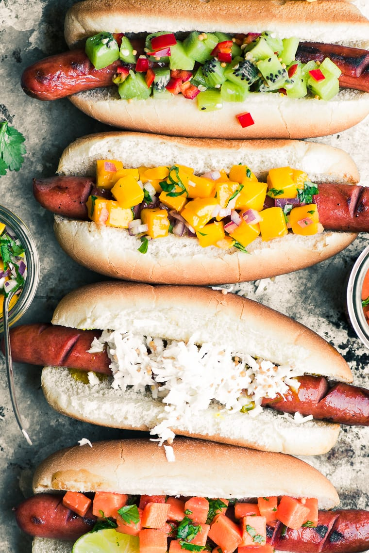 Tropical Hot Dog Bar ~ I admit it, I'm a closet hot dog lover, maybe you are too? Today I'm sharing a slew of exotic toppings, including spicy kiwi relish and Maui onion slaw, that will turn your next barbecue into an island paradise! Get ready, because it's full-on summer just ahead...