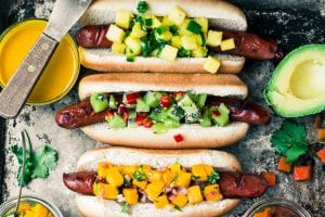 Tropical Hot Dog Bar ~ seven exotic condiments to take your next barbecue to the tropics!