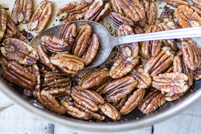 Toasted pecans for Broccoli Salad with Pineapple, Bacon, and Spiced Pecans