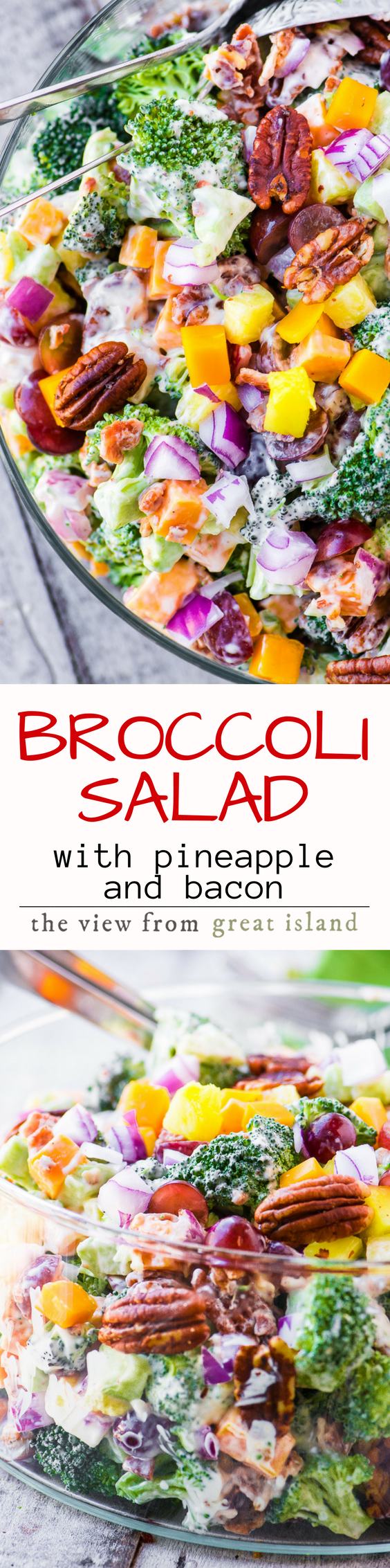 Broccoli Salad with Pineapple, Bacon and Spiced Pecans ~ This summer classic has an extra burst of sweetness from fresh pineapple, and lots of crunch from bacon and chili rubbed pecans. #salad #broccoli #bacon #summersalad #picnicsalad #barbecue #potluck #healthy #pineapple #mayosalad