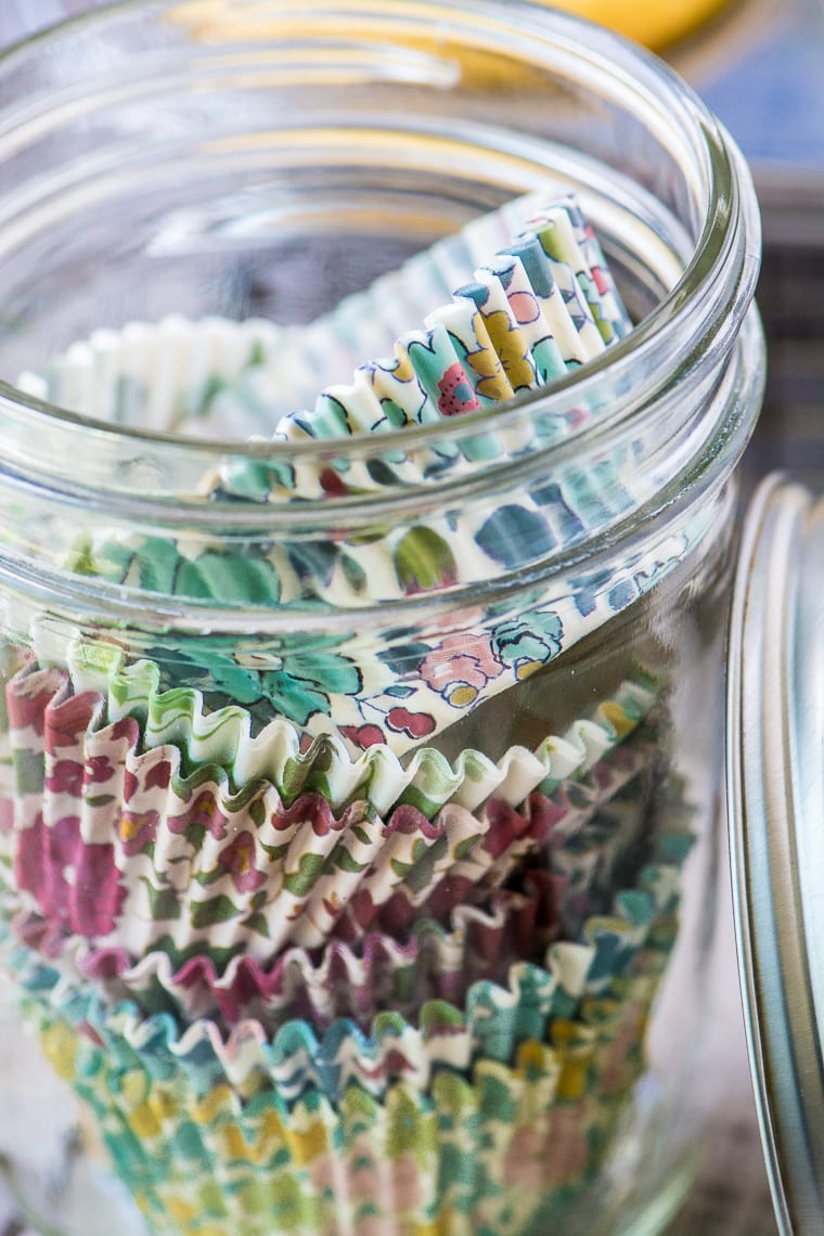 Pretty Liberty print cupcake wrappers for Ina Garten's Coconut Cupcakes