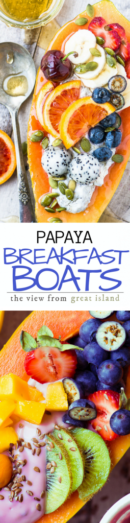 Papaya Breakfast Boats ~ breakfast just got a whole lot more interesting, with gorgeous tropical papaya filled with non dairy yogurt and fresh juicy fruit. | yogurt | non-dairy yogurt | plant based food | gluten free | vegan | brunch | tropical fruit |