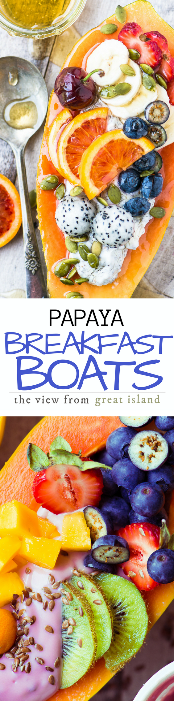 Papaya Breakfast Boats ~ oh my, breakfast just got a whole lot more interesting, with gorgeous tropical papaya halved and filled with non dairy yogurt and fresh juicy fruit. | yogurt | non-dairy yogurt | plant based food | gluten free | vegan | brunch | tropical fruit |