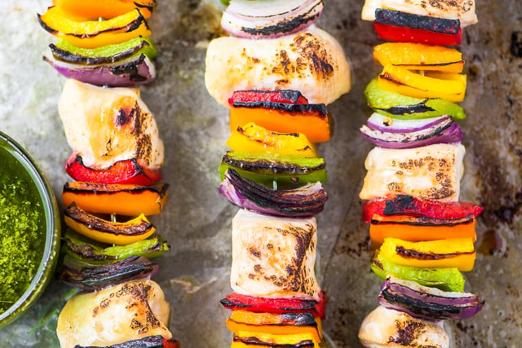 oven grilled rainbow chicken skewers