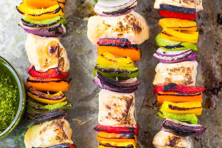 oven grilled rainbow chicken skewers