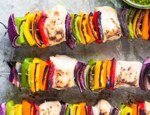 Rainbow Chicken Skewers with Spicy Pesto Sauce