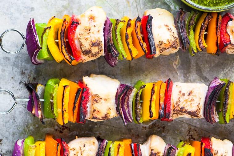 Rainbow Chicken Skewers with Spicy Pesto Sauce