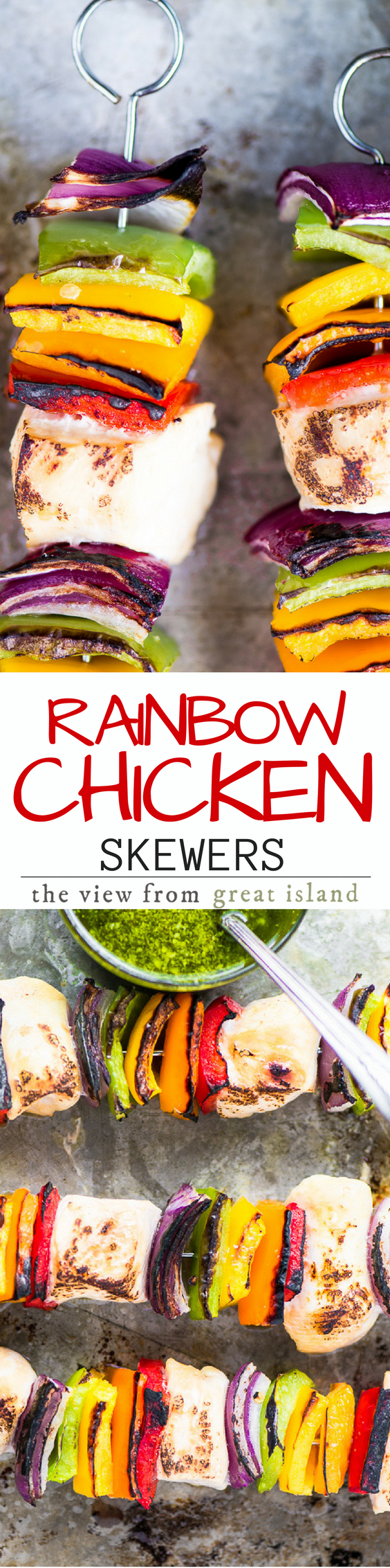 Rainbow Chicken Skewers with Spicy Pesto Sauce ~ my skewers are the essence of effortless outdoor eating but I'll show you how to get that just-off-the-grill taste right in the oven so you don't have to miss out if the weather doesn't cooperate, or you don't have a grill. | gluten free | Paleo | Whole 30 | Grilling |