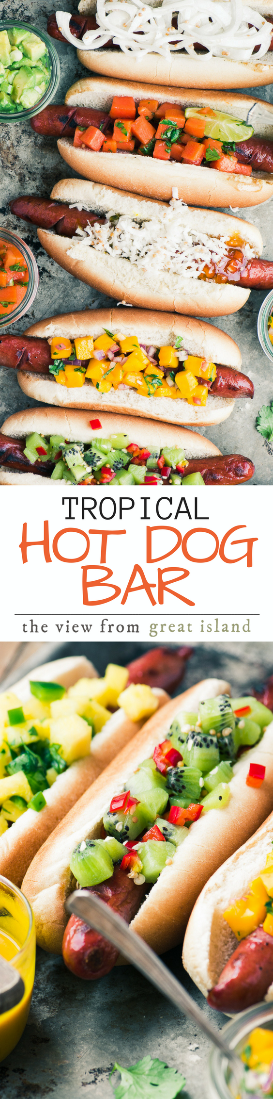 Tropical Hot Dog Bar ~ I admit it, I'm a closet hot dog lover, maybe you are too? Today I'm sharing a slew of exotic toppings, including spicy kiwi relish and Maui onion slaw, that will turn your next barbecue into an island paradise! #hotdogs #barbecue #grilling #sausage #summer #salsa #slaw #condiments #dinner #relish #4thofjuly #memorialday