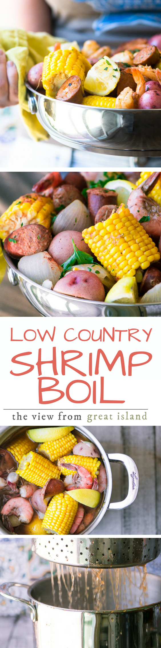 Low Country Shrimp Boil ~ this iconic Southern feast is the ultimate one pot meal ~ Vidalia onions, potatoes, corn, Andouille sausage, and shrimp get layered into a large stock pot with Cajun spices ~ just add friends and lots of ice cold beer! | Southern | Louisiana | seafood | summer cooking | entertaining recipe | Easy main course |