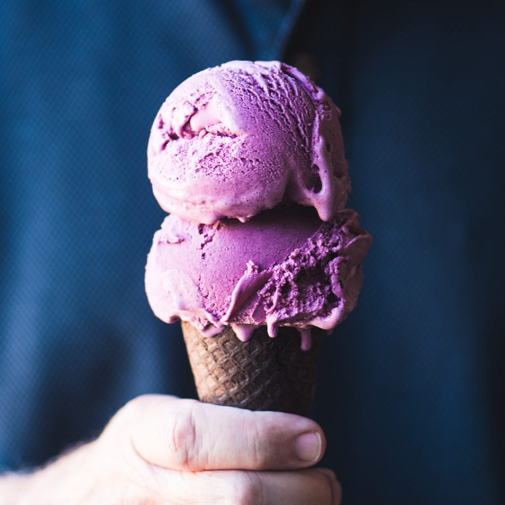 Wild Blueberry Ice Cream made with sour cream
