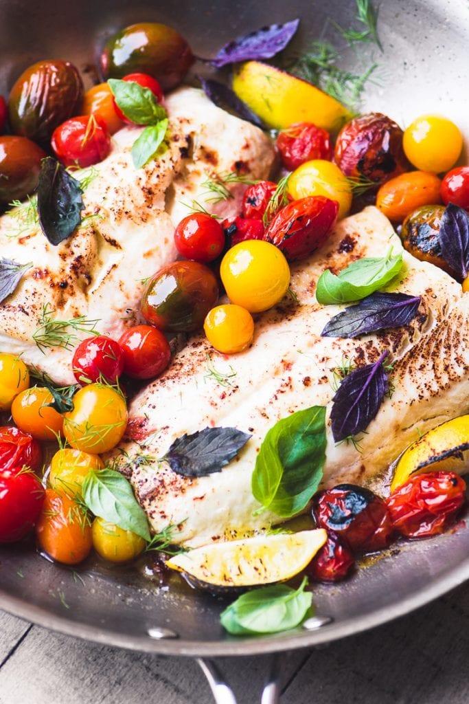 Easy Whitefish with Burst Cherry Tomatoes