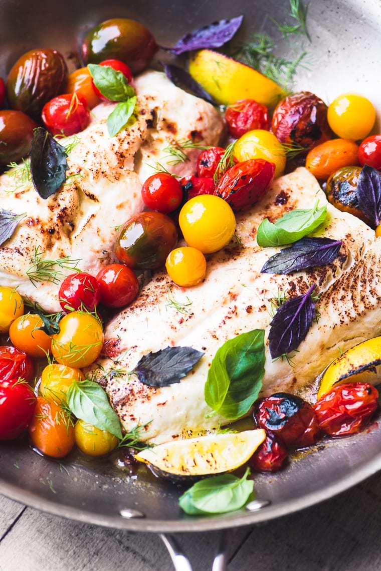 Best Heirloom Tomato Recipes ~ whitefish with burst cherry tomatoes in a skillet