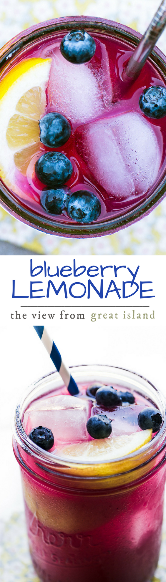 Blueberry Lemonade ~ skip the sugary soda and make a big pitcher of this all natural fruit drink ~ #lemonade #blueberries #fruitdrink #summer #beverage #berries #kidsdrink #healthy #naturalsoda #fruitbeverage