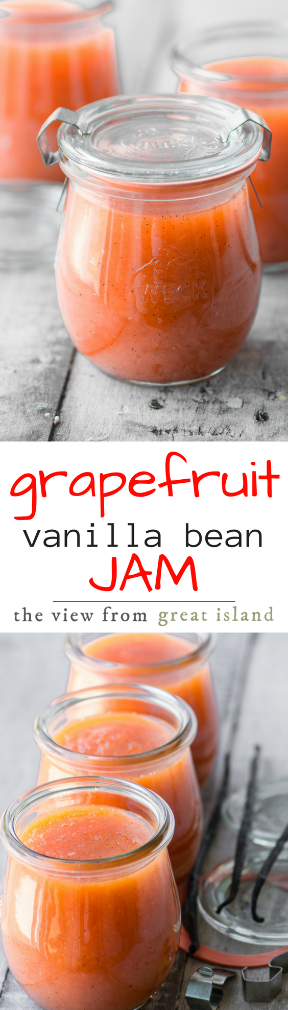 Pink Grapefruit and Vanilla Bean Jam ~ this small batch vanilla scented grapefruit jam is unforgettable! #jam #citrus #grapefruit #breakfast #marmalade #pinkgrapfruit #brunch #scones #toast #jelly #preserves #vanillabean #easy #recipe #nocan #smallbatch #refrigerator