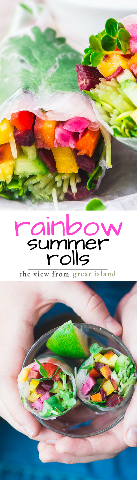 These refreshing Rainbow Summer Rolls are like a cool breeze on a hot day, and they get bonus points for fitting in to just about any diet you're on, from low carb and gluten free, to vegan, Paleo, Whole 30, and Weight Watchers ~