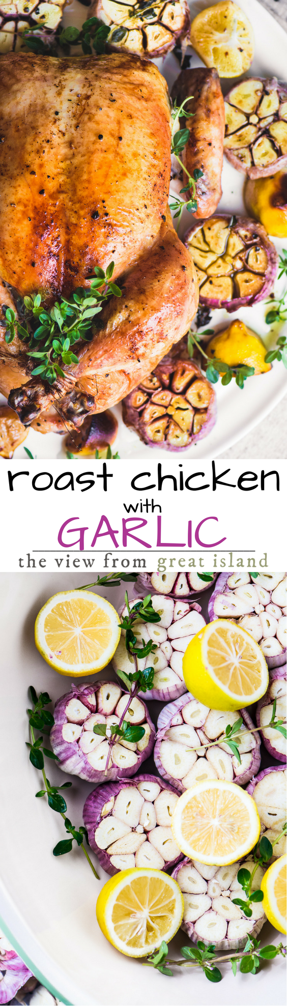 Roast Chicken with Purple Garlic ~ this chicken roasts on a veritable bower of garlic, and when it comes out of the oven, those cloves are mellow and spread like buttah.  #recipe #best #baked #homemade #garlic #dinner #whole #healthy #easy #crispy #perfect #chicken