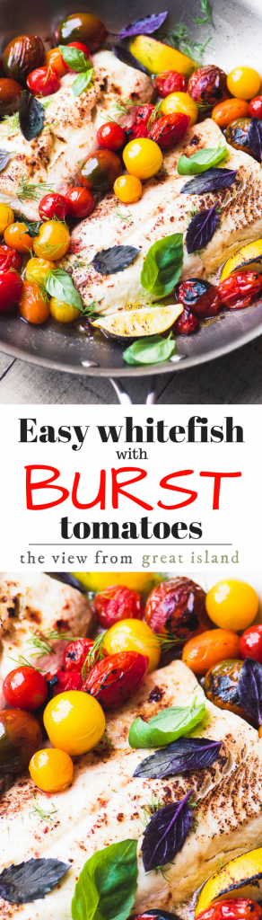 Whitefish with Burst Cherry Tomatoes is possibly the simplest summer meal on the planet ~ the jewel toned tomatoes burst their skins and create an instant sauce for the fish, with a pop of fresh flavor from the lemon and basil ~ it's delicious and it's ready in 15 minutes. | fish | 30 minute meal | dinner | healthy | low carb | gluten free | whhole 30 | Paleo | recipe |