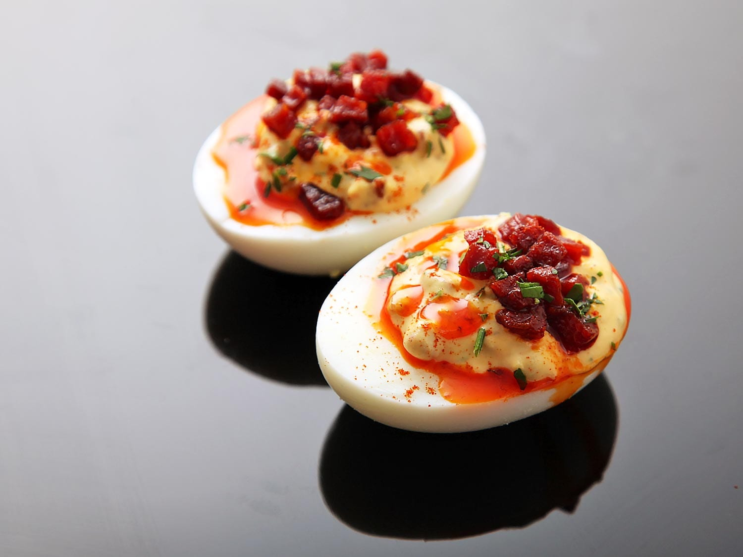 deviled eggs with chorizo