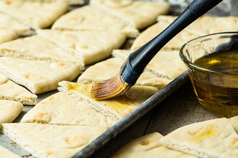 making healthy homemade pita chips