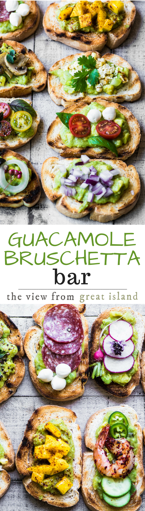 Guacamole Bruschetta Bar ~ admit it, you've always wanted to eat avocado toast for dinner, and this meal is healthy and lots of fun! #appetizer #avocados #guacamole #guacamoletoast #gameday #partyfood #healthy #dinner #healthysnack