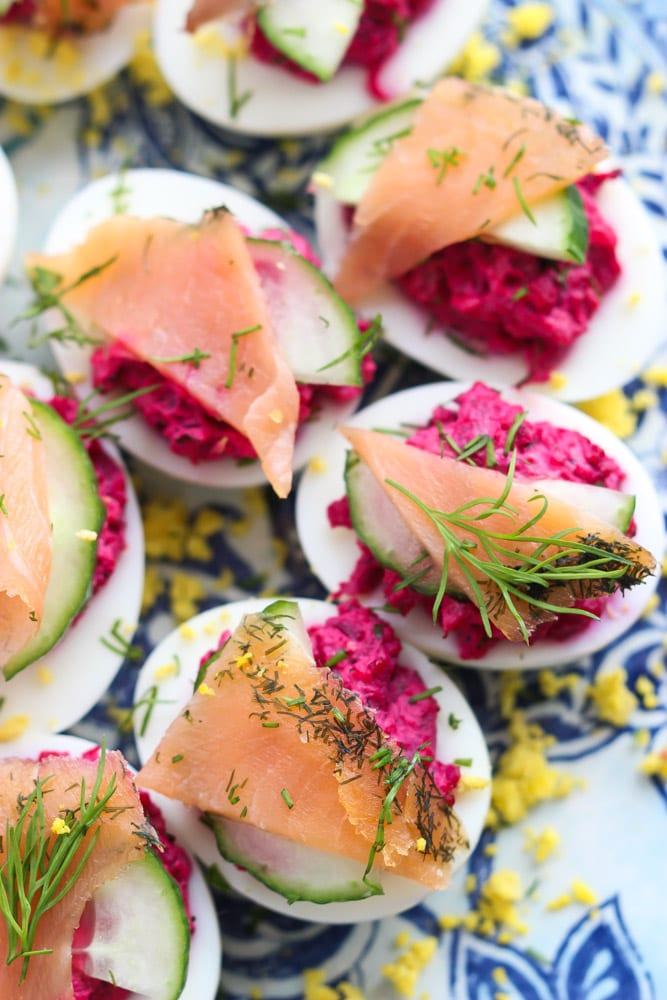 deviled eggs with beets