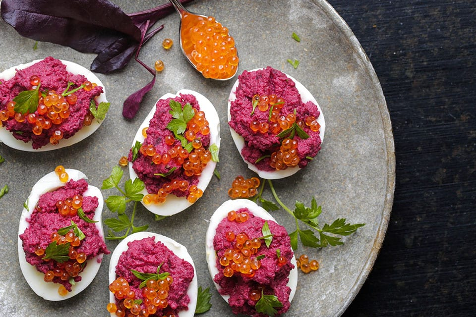 deviled eggs with beets and horseradish