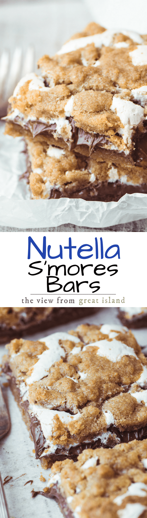 Nutella S'mores Bars ~ everybody's favorite summer treat in an ooey, gooey, decadent, and delicious bar, no campfire needed! Make a batch and watch them disappear before your eyes. #baking #Nutella #s'mores #smores #bars #cake #nutelladessert #bestnutellabars #brownies #blondies #marshmallowfluff #dessert #easydessert