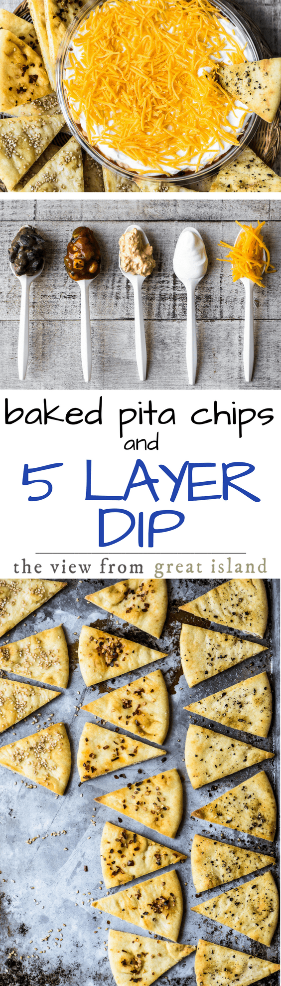 Baked Pita Chips with Black Bean, Corn, & Chorizo 5 Layer Dip ~ A great dip deserves a great chip, and today I'm baking up my homemade pita chips in 5 flavors in honor of Rojo's newest layered dip ~ let's dig in! #appetizer #dip #layereddip #mexican #salsa #beandip #gamdeday #sevenlayerdip #bestdip