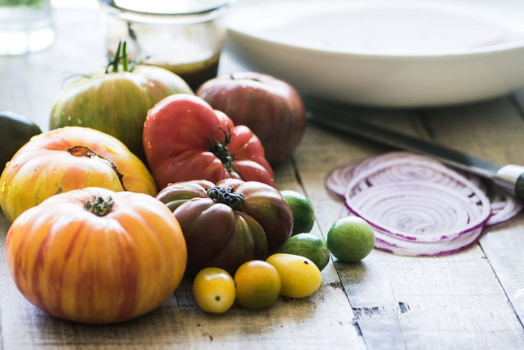 Heirloom tomatoes for a tomato salad